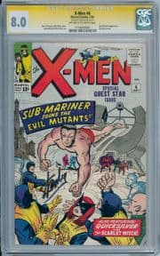 X-Men #6 1964 CGC 8.0 Signature Series Signed Stan Lee Sub-Mariner Silver Age Marvel comic book