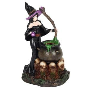 Witch and cauldron backflow incense cone burner