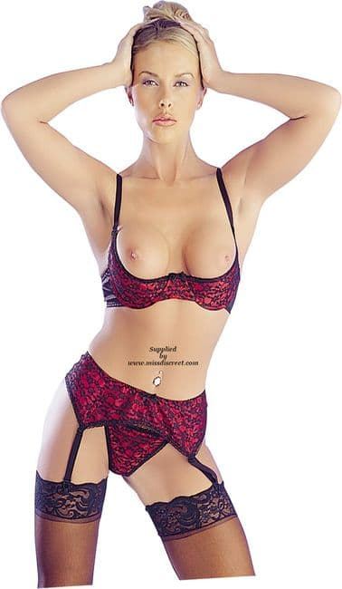 1/4 Cup Bra, Suspender Belt and G String in Red with Black Lace Overlay 34 Bust