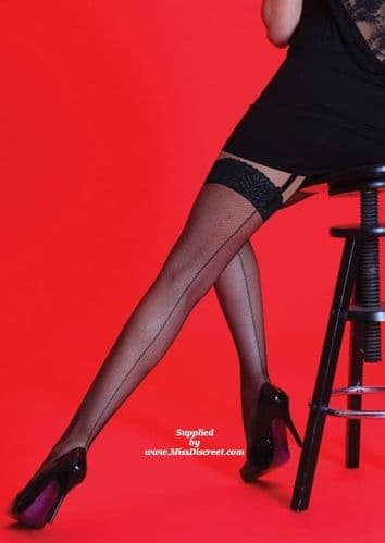 Black Fishnet Stockings with Sexy Black Seams and Lace Tops - One Size
