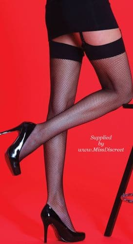 Black Red or White Fishnet Stockings with Plain Tops