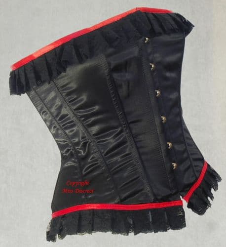 """Black Satin & Lace Steel Boned Waist Cinching Corset with Scarlet Red Trim - To Suit 27/28"""" Waist"""