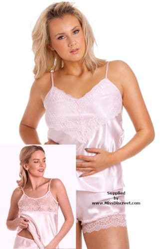Cami Set in Blush Pink Silky Satin - Available in full size range from UK 10 to 28 sizes