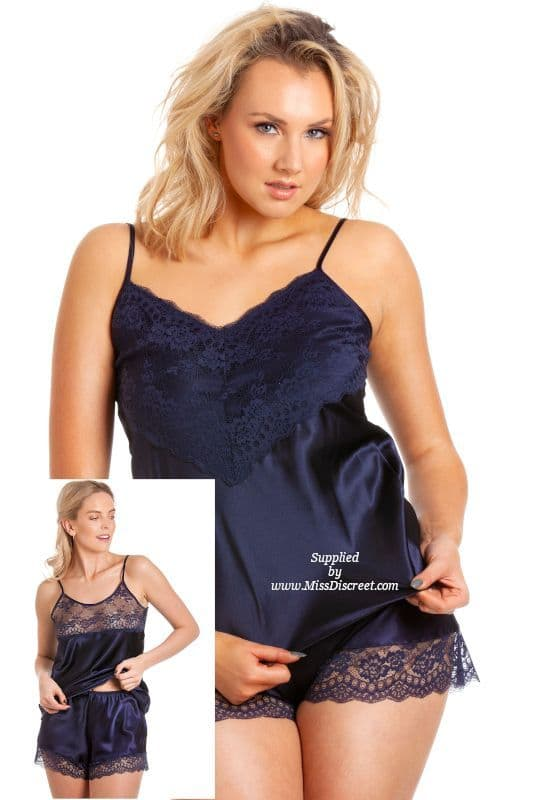 Cami Top and French Knicker Set in Midnight Navy Blue Satin  UK 10 to 28 sizes