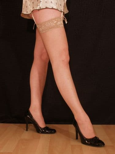 Gloss Thigh High Stockings with Fancy Lace Tops - Medium - Melon - Natural Tan