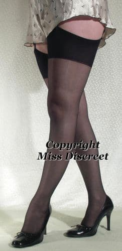 Glossy Thigh High Stockings with Deep Plain Tops Medium - Black, Nude or Barely Black