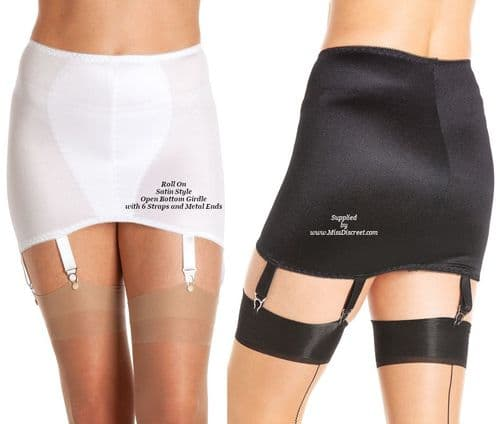 "Glossy Tummy Smoothing Roll On  Girdle in Black or White Satin 6 Metal Suspenders - 33 to 40"" Waist"