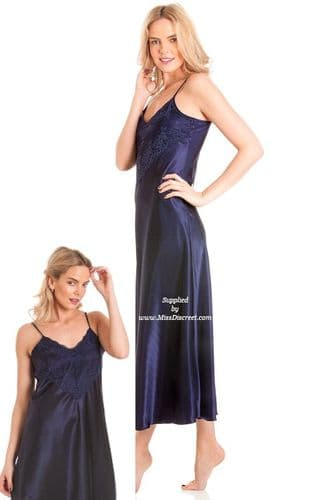 Long Navy Blue Satin and Lace Nighty Chemise  Size UK 10 to 28