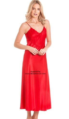 Long Satin Nighty in Scarlet Red with Lace Trim - Size UK 10 to 28