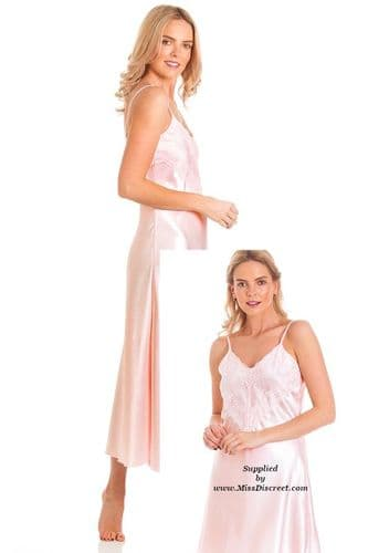 Long Silky Satin and Lace Nightie in Blush Pink - Nightdress Chemise Slip - Size UK 10 to 28