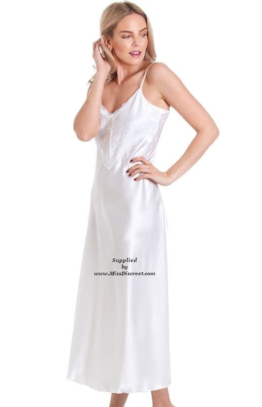 Long Snow White Glossy Satin and Lace Nightie - Nightdress Chemise Slip - Size UK 10 to 28