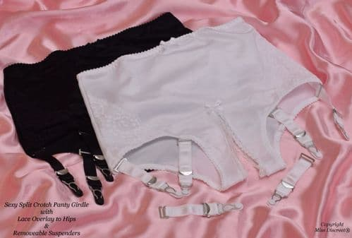 """Open Crotch Knickers Crotchless Panties with Removeable Suspenders Black or White Up to 40"""" Waist"""