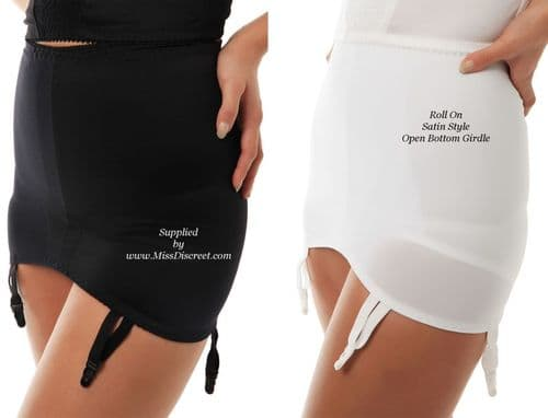 "Roll On Satin Style Slimming Control Suspender Girdle Black or White in Sizes from 25"" to 42"" Waist"