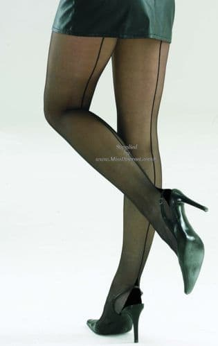 Seamed RHT Cuban Heel Tights - Black or Nude with Colour Choice of Seams