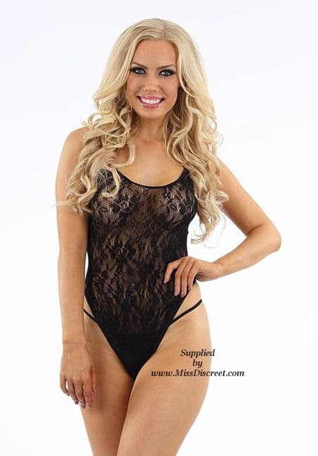 Sexy Black Floral Lace Teddy - Sheer Body Stocking