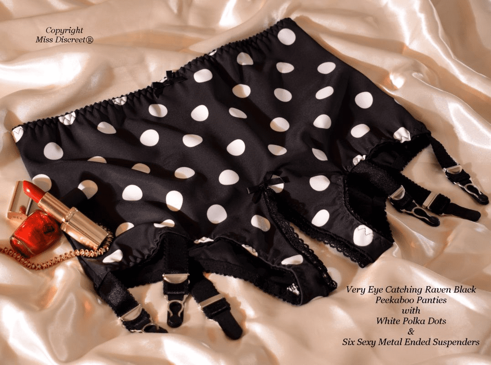 """Sexy Black with White Polka Dots Open Crotch Peekaboo Panties with 6 Metal Suspenders 37""""/38"""" Waist"""