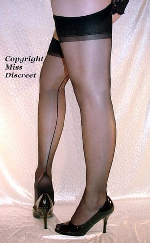 Sexy RHT Cuban Heel Stockings Black or Nude with Black Nude or Red Seams  Medium or Large