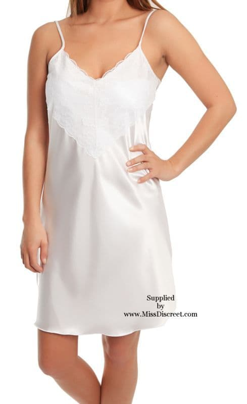 Sexy Short Snow White Satin and Lace Nighty Size UK 10/12 to 26/28