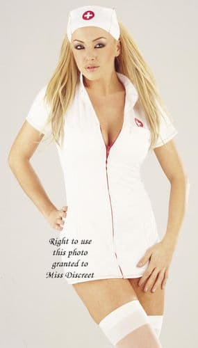 Sexy White Zip Front Women's Nurse Outfit Small to X Large Plus Size