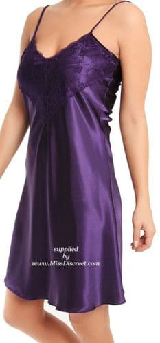 Short Sexy Purple Satin and Lace Nighty Size UK 10/12 to 26/28