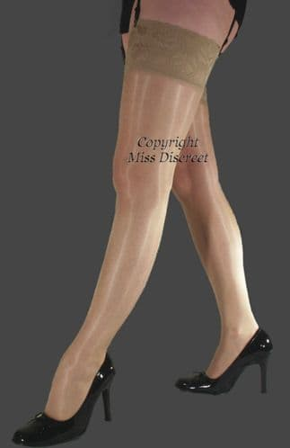 Stockings Super Shine with Extra Deep Lace Tops - Medium - Nude