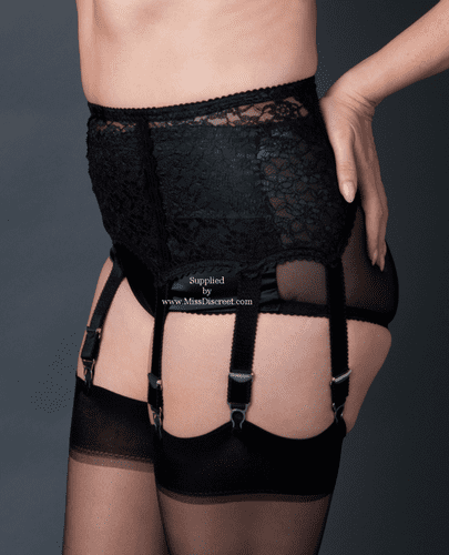 Stunning Black Lace Extra Wide Suspender Belt With 6 Straps and Metal Clasps