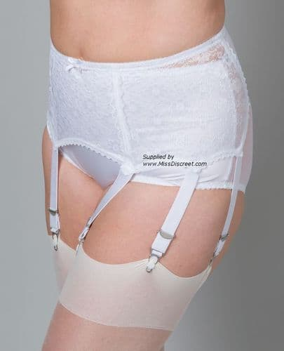 Stunning  White Lace Extra Wide Suspender Belt With 6 Straps and Metal Clasps in Small to Plus Sizes