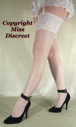 Super Shine Women's Wedding Stockings with Extra Deep Lace Tops - Medium - White