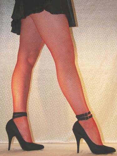 Superior Quality Red Fishnet Tights Pantyhose in Medium to XXL