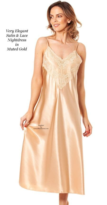 Very Elegant Muted Gold Satin and Lace Long Nightdress Chemise  Size UK 10 to 28