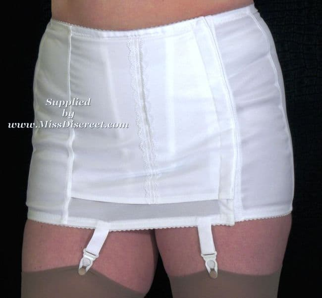 White Side Hook Fastening Firm Control Retro Vintage Style Slimming Suspender Girdle - OBG 34