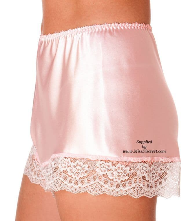 Women's Gorgeous Blush Pink Satin French Knickers with Sexy Lace Trim - Size UK 10 to UK 28