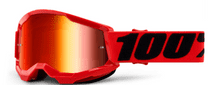 100% Strata 2 Youth Goggle Red / Red Mirror Lens