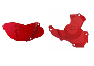 New Polisport Honda CRF 250 10-17 Red Clutch Ignition Cover Protector Combo