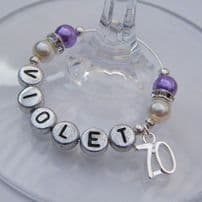 70th Birthday Wine Glass Charms
