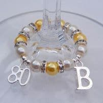80th Birthday Wine Glass Charms