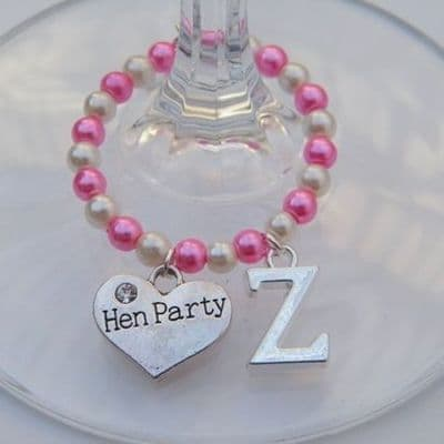 Hen Party Wine Glass Charm - Initial Full Bead Style