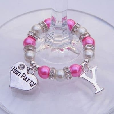 Hen Party Wine Glass Charm - Initial Full Sparkle Style