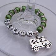 Ambulance Personalised Wine Glass Charm - Full Sparkle Style