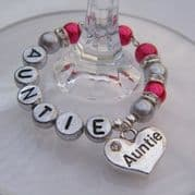 Auntie Personalised Wine Glass Charm - Full Sparkle Style