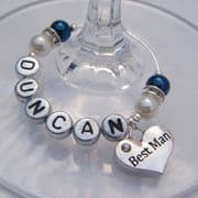 Best Man Personalised Wine Glass Charm - Elegance Style