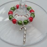 Candy Cane Wine Glass Charms