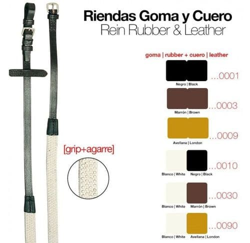 Economy leather/rubber reins