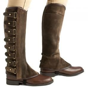 Portuguese polainas, or half chaps, in suede leather
