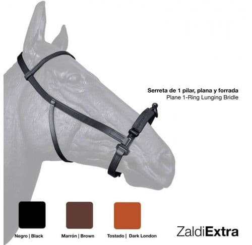 Single ring de-luxe leather serreta with smooth metal under leather noseband