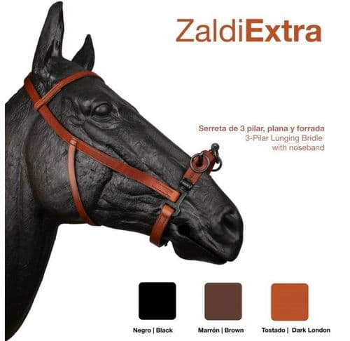THREE RING leather serreta with smooth metal under the soft leather noseband