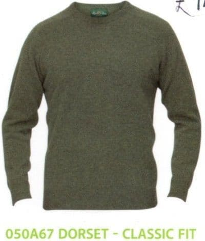 100% Lambswool Crew Neck Pullover by Alan Paine -Classic Fit-Style  050A67 - Dorset