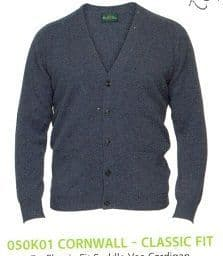 100% lambswool 'V' Neck Cardigan by Alan Paine -Classic Fit-Style 050K01 Cornwall