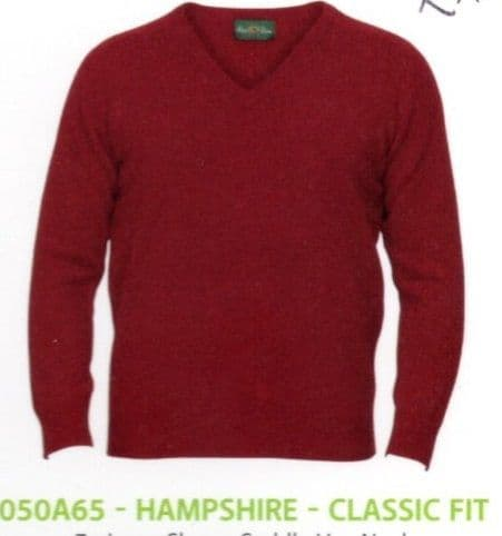 100%  Lambswool V Neck Pullover by Alan Paine -Classic Fit-Style  050A65 - Hampshire