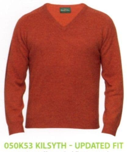 100% Lambswool Vee Neck Pullover by Alan Paine - Updated Fit - Style  050K53 - Kilsyth